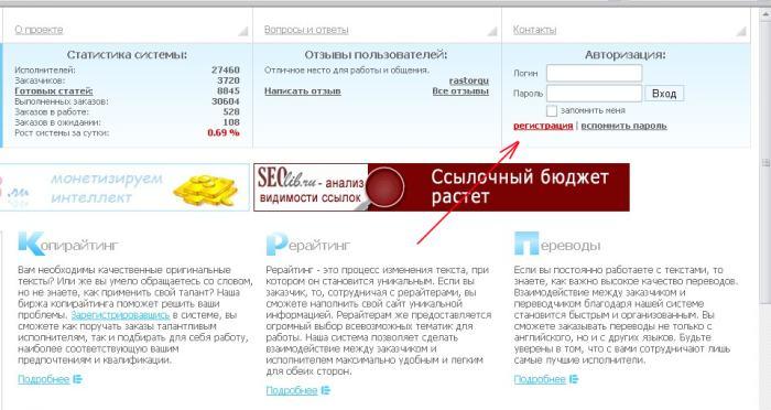 Работа копирайтером на Etxt.ru